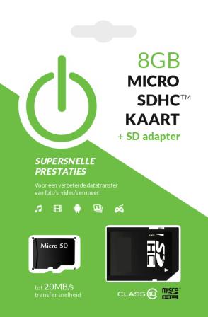 8GB MicroSDHC Kaart