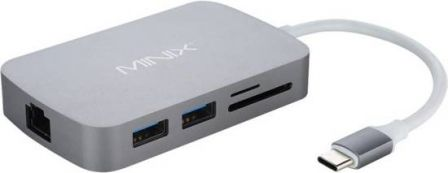 MINIX NEO-C-XGR USB-C Multiport Adapter 100Mbps Grijs